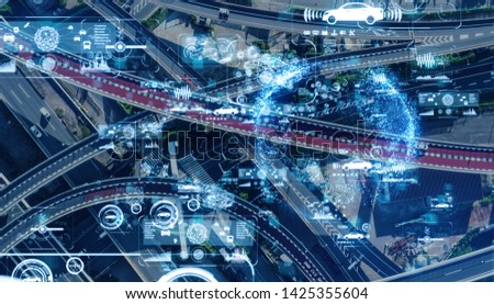 Transportation and communication network concept. #1425355604