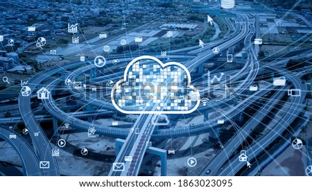 Transportation and technology concept. Cloud computing.