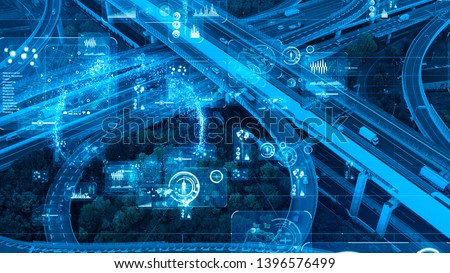 Transportation and technology concept. ITS (Intelligent Transport Systems). #1396576499