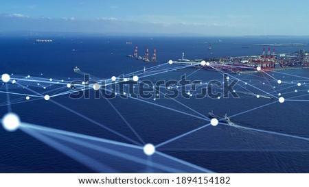 Transportation and technology concept. Shipping industry. Marine radio. Smart logistics. Imagine de stoc ©