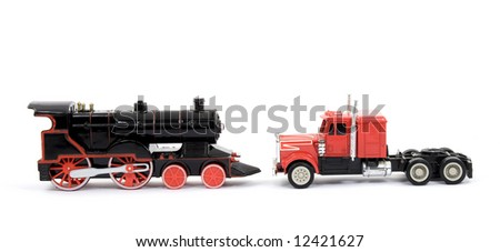 transportation concept - train and truck toys