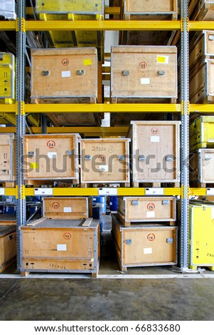 Transportation crates at shelf in museum warehouse