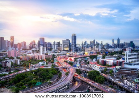Transportation Expressway Concept, Bangkok Expressway top view, Top view over the highway,expressway and motorway at night - Shutterstock ID 1008917092