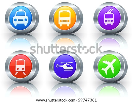 Transportation Icons on Reflective Button with Metallic Rim Collection Original Illustration