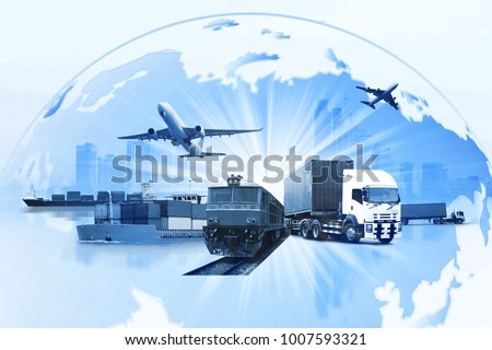 Transportation, import-export and logistics concept, container truck, ship in port and freight cargo plane in transport and import-export commercial logistic, shipping business industry  #1007593321