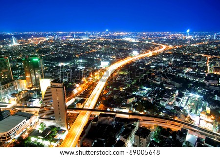 Transportation in city town at night, View Point on a Sky Bar at Sirocco, Bangkok, Thailand