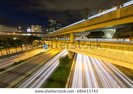 Transportation in Hong Kong at night #686615743