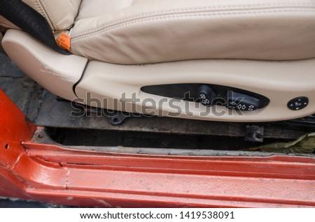 transportation interior close up view. car details concept