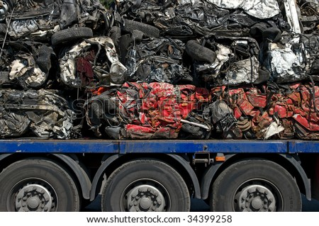 Transportation of crushed cars for recycling