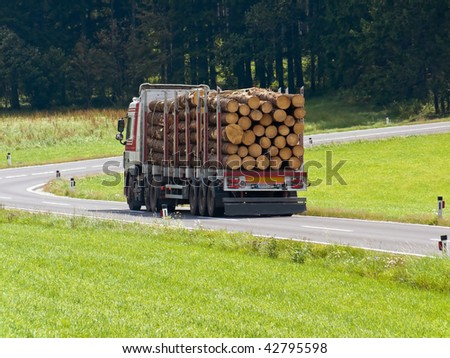 Transportation of logs on a truck on the road