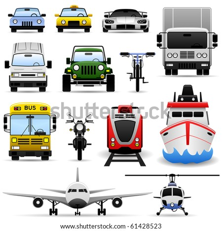 Transportation Vehicle Travel Car Truck Bus Train Airplane Ship Icon Set