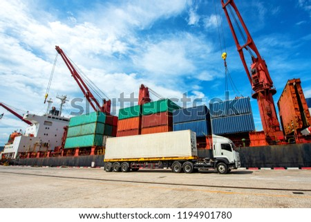 transportations sea and land meet together in port terminal where the logistics system being servicves to worldwide international #1194901780