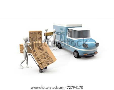 transporters working isolated on white background