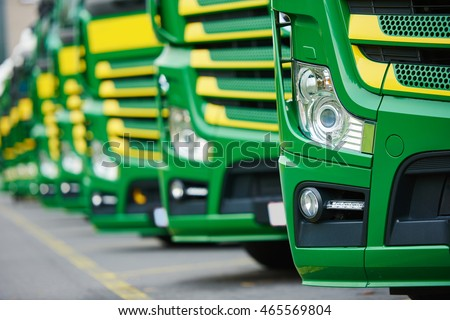 transporting freighting service lorry trucks in row