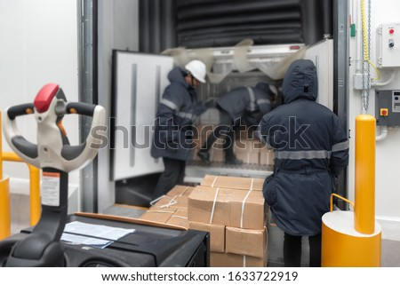 Transporting goods in the loading goods of the freezing warehouse. Storage for Ready-made foods or Ready-to-Eat Foods. Export-Import Logistics system concept. Photo stock ©