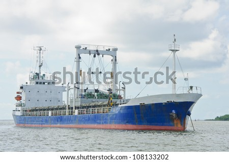 transporting ship at sea near the port