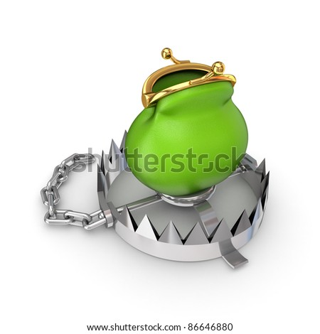 Trap concept.Isolated on white background.3d rendered.