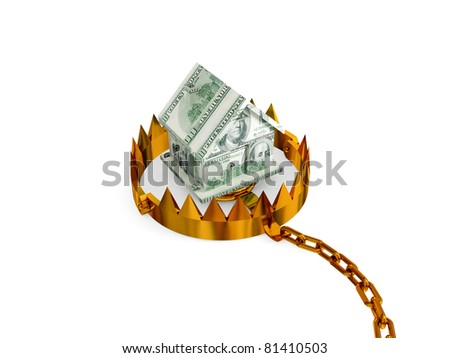 Trap with a small house made of money. 3d rendered. Isolated on white background.