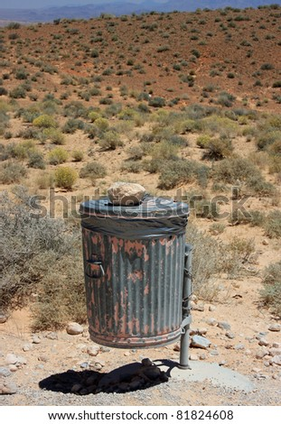 Trash bin at Valley of Fire State Park