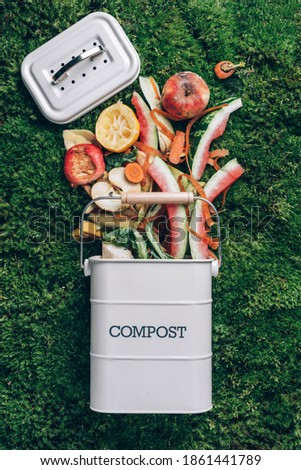 Trash bin for composting with leftover from kitchen on green grass, moss background. Top view. Recycling scarps concept. Sustainable and zero waste lifestyle. Foto d'archivio ©