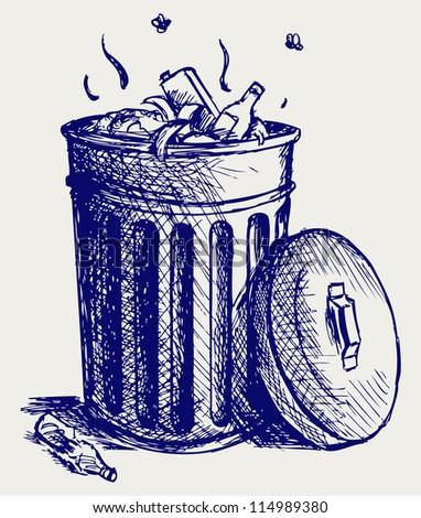 Trash bin full of garbage. Doodle style. Raster version