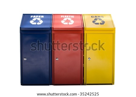 trash bin in blue, red and yellow colors