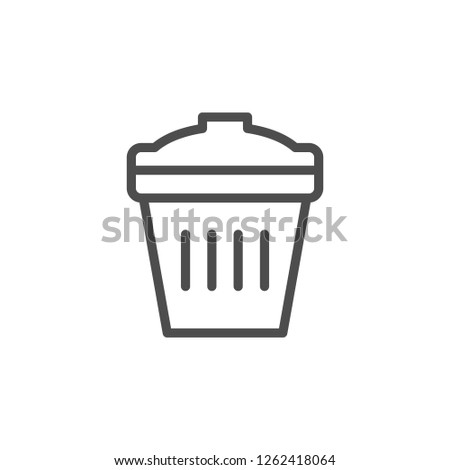Trash bin line icon isolated on white