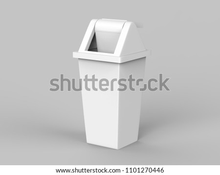 Trash bin, Recycled Bins for Trash or Garbage Open and Closed isolated on a light grey background, 3d illustration