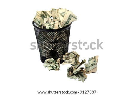 "trash can overfilled with american money representing ""throwing away your money"" or waste"