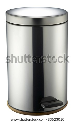 Trash can with peddle on the white background and clipping path