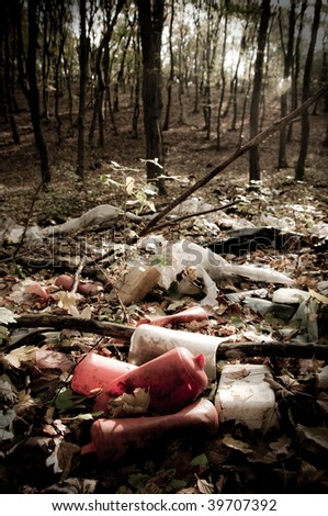 Trash in the forest