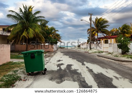 trash in the street with palm trees