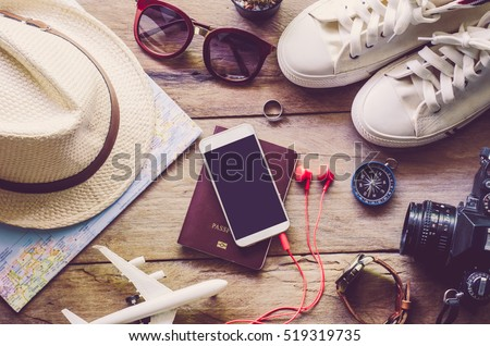Travel accessories costumes. Passports, luggage, The cost of travel maps prepared for the trip #519319735