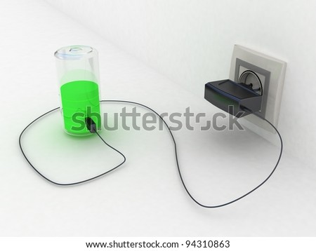 Travel adapter and battery charge leve, 3D images