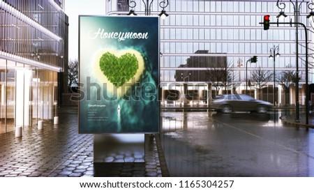 travel advertising billboard mockup on city downtown. 3d Rendering.
