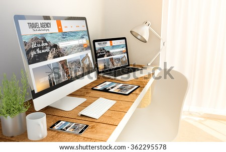 Travel agency responsive web on an hardwood desk on devices mock up. Screen graphics are made up. 3d illustration. - Shutterstock ID 362295578