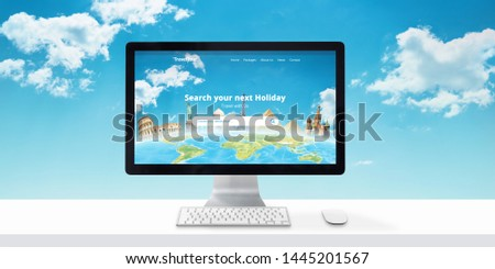 Travel agency website concept on computer display. Search destinations and vacations online. Modern flat web site desing with clouds in background.