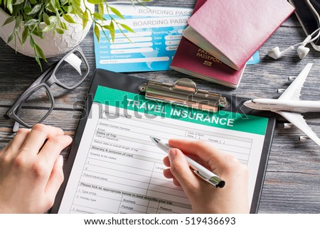 travel agent ticket safe plan trip holiday model insurance money concept air form business security paper transportation concept - stock image #519436693