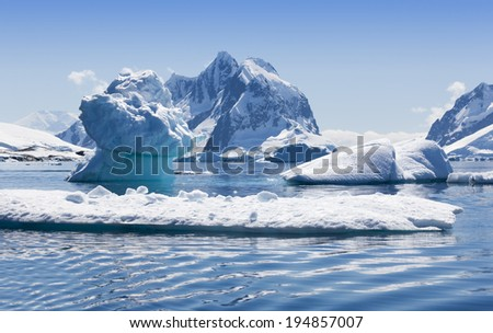 Travel among ices of Antarctic. Glaciers and icebergs of unusual forms. Studying of a phenomenon of global warming. #194857007