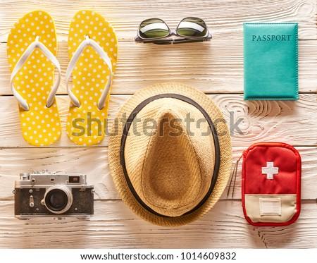 Travel and beach items flat lay still life  #1014609832