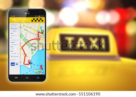 Travel and internet web taxi service app business transportation concept: 3D render of smartphone with online satellite GPS taxi application software on screen with taxi car roof with yellow taxi sign