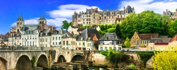 Travel and landmarks of  France- pictorial medieval town Saint-Aignan with old bridge. Loire valley