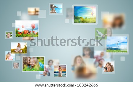 Travel and photo sharing technology background