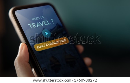 Travel and Technology Concept. Closeup of Virtual Tour Appllication on Mobile Phone. Traveling in New Normal Lifestyle ストックフォト ©