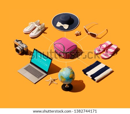 Travel and tourism isometric infographic with accessories, laptop and suitcase #1382744171