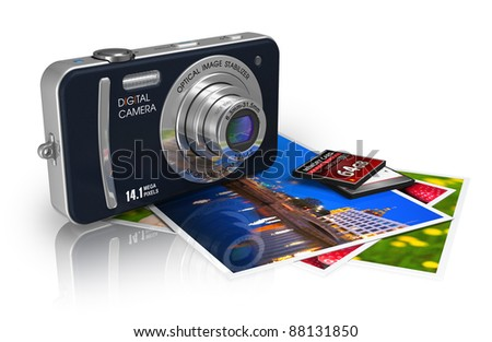 Travel and tourism/sightseeing concept: compact digital camera, memory cards and set of photos isolated on white reflective background