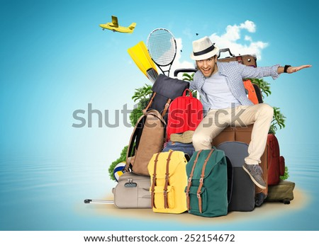 Travel and tourism, the guy on the bags and suitcases
