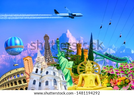Travel and Tourism with Famous World Landmarks. Concept of aircraft trip #1481194292