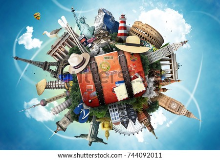 Travel and tourism, world landmarks and suitcase - Shutterstock ID 744092011