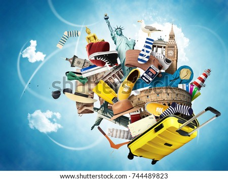 Travel and tourism, world landmarks and suitcase - Shutterstock ID 744489823